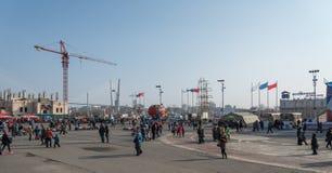 在镇中心的人步行 库存图片