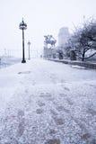 在镇在12月,芝加哥伊利诺伊下雪 库存照片