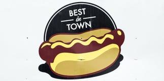 在镇热狗标志的最好 免版税库存照片