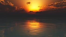在镇静海洋水的朦胧的日落 免版税图库摄影