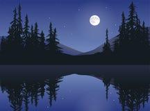 在镇静湖的月亮 免版税图库摄影
