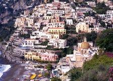 在镇,波西塔诺,意大利的看法 库存图片