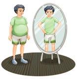在镜子之外的一个肥胖人和在镜子里面的一个皮包骨头的人 免版税库存照片