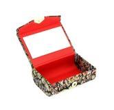 在镜子开放小里面的配件箱 免版税库存照片
