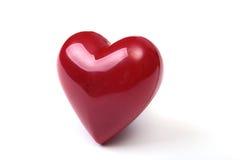 在镜子白色背景隔绝的红色心脏 库存图片