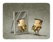 在镜子的商人 库存例证