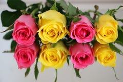 在镜子的四朵玫瑰 免版税库存图片