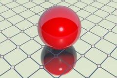 在镜子的红色球 免版税图库摄影