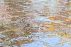 在镭期间出生的古老砖地上的水坑 免版税库存图片