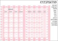 在镶边桃红色背景的月度计划者模板书本大小尺寸 库存图片