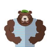在镶边背心俄国熊防御者的恼怒的熊一个绿色误码率的 向量例证