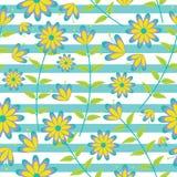 在镶边背景传染媒介设计的逗人喜爱的蓝色和黄色花无缝的样式织品的给背景穿衣 免版税库存照片