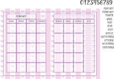 在镶边背景的月度计划者书本大小尺寸与心脏 免版税库存图片