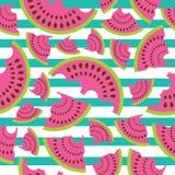 在镶边背景的西瓜无缝的样式传染媒介设计织品的给背景穿衣 免版税图库摄影