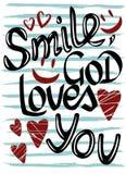 在镶边背景,微笑,上帝的题字爱您 免版税库存图片