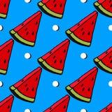 在镶边蓝色背景,无缝,样式,墙纸的逗人喜爱的红色西瓜切片设计 免版税图库摄影
