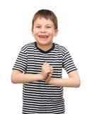 在镶边衬衣的男孩画象在白色 免版税图库摄影