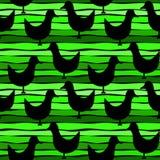 在镶边绿色无缝的背景的鸟 免版税库存图片