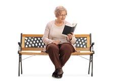 在长凳和读书的资深开会书 免版税图库摄影