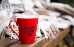 在长凳的一条毯子包裹的红色杯子 库存图片