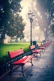 在长凳的看法在城市庭院 免版税库存图片