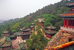 在长寿小山的美丽的大厦在颐和园,北京 免版税库存照片