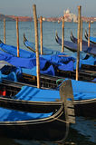 在长平底船港口,威尼斯的清早 库存图片