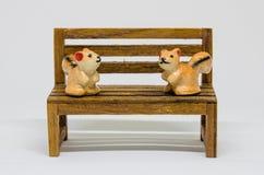 在长木凳的灰鼠Cerimic在公园 图库摄影