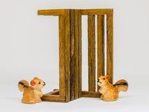 在长木凳的灰鼠Cerimic在公园 免版税库存照片