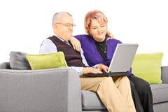 在长沙发供以座位的成熟夫妇看膝上型计算机 库存照片