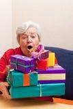 在长沙发的高级开会与礼品 库存图片
