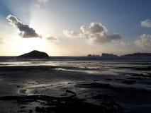 在长滩的日落 免版税库存图片