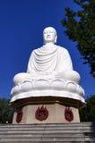 在长的儿子塔的白色菩萨雕象在芽庄市,越南 库存照片