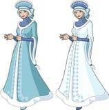 在长的华丽外套的雪少女字符 免版税库存图片