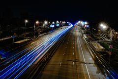 在长的曝光的街道线 库存照片
