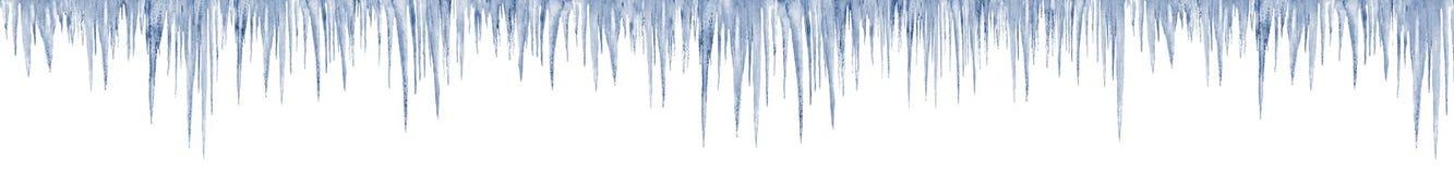 在长的白色的冰柱1米在印刷品大小 免版税库存照片