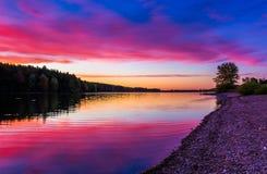 在长的胳膊水库的日落,在汉诺威附近,宾夕法尼亚 免版税库存照片