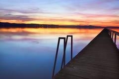 在长的跳船NSW澳大利亚的日落 免版税图库摄影