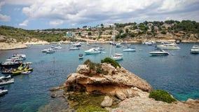 在门户Vells海滩马略卡的海景 免版税库存图片