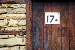 在门的房子号码 图库摄影