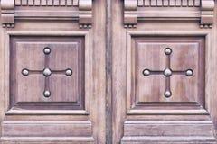 在门的木雕 库存照片