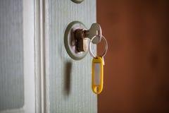 在门的钥匙 选择聚焦 库存图片