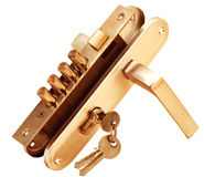 在门锁的钥匙 免版税图库摄影