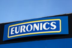 在门面的Euronics商标 库存照片