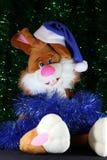 在闪亮金属片的新年度的兔子 免版税库存图片