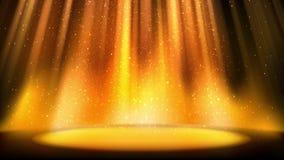 在闪烁背景,明亮的金黄聚光灯点燃的地方的空的金黄场面,落的发光的闪耀的微粒,无缝的圈 库存例证