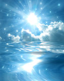 在闪耀的星形的蓝色湖 库存图片