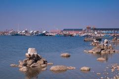 在闭合的捕鱼季节的捕鱼港口 免版税库存照片