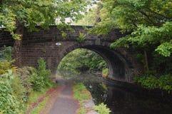 在阔德谷-英国的一座典型的运河桥梁 免版税图库摄影