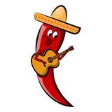 在阔边帽的红辣椒有吉他的 假日Cinco de马约角 免版税库存照片